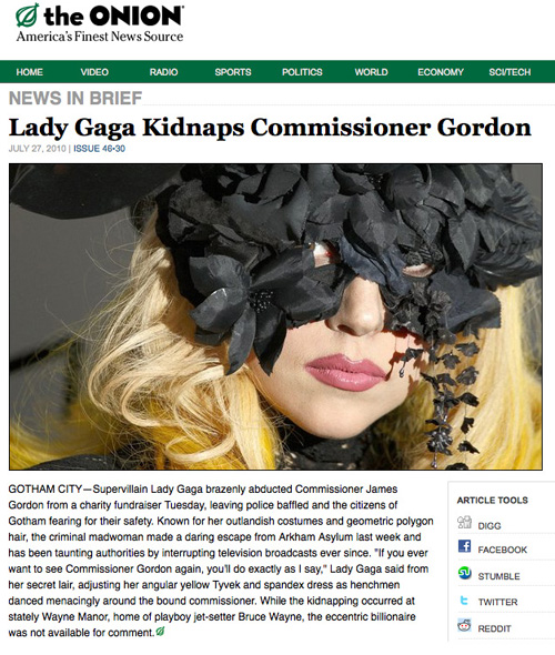 Lady Gaga Kidnaps Commissioner Gordon
