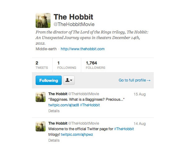 The Hobbit official Twitter feed. Tweets.