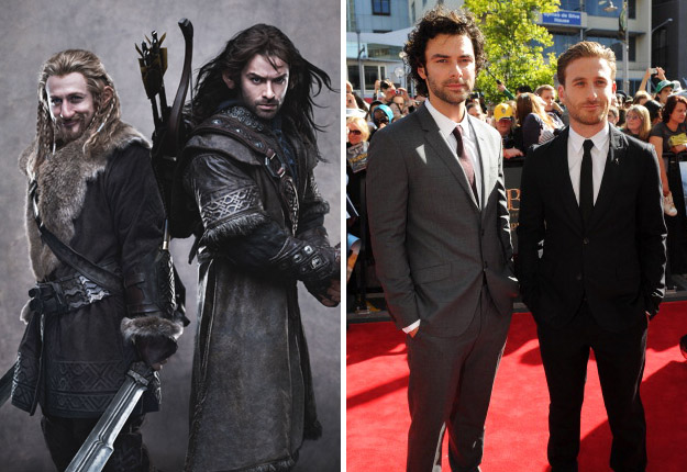 (L to R): Fili, Kili, Aidan Turner and Dean O'Gorman